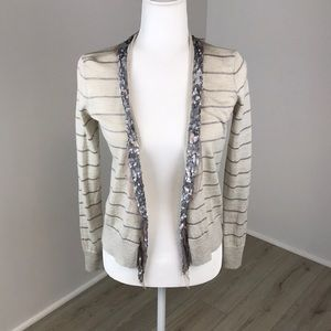 Loft Sparkly Striped Open-Front Cardigan Size XS